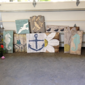 Handmade, painted wood pallet art