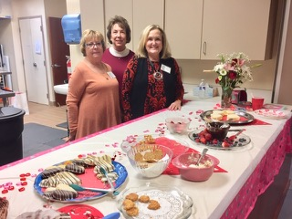 Hostesses for February HBBC Meeting Left to Right: Judy Brock, Peggy Schiavone, Ann Landis, not pictured (Carol Gardner)