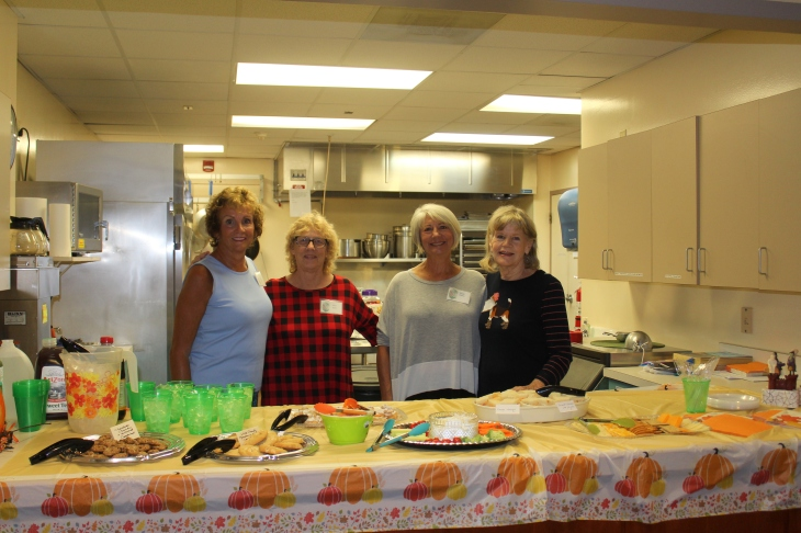 Hostesses for the October meeting were Janice Sullivan (chair), Carole Keane, Susan Gibble, Lillian West. Not pictured: Jean Blanton.